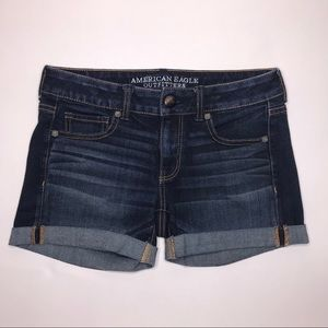 American Eagle Denim Dark Wash Midi Shorts